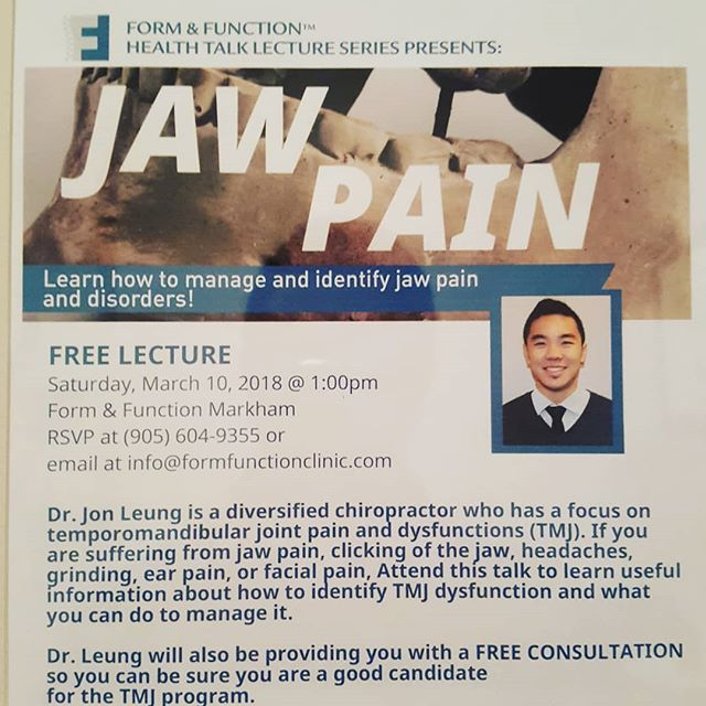 Get a lot of headaches? Persistent neck pain? Jaw pain? It could be your TMJ!I&;m doin a brief lecture on the TMJ, signs symptoms, what to look for and it&;s intimate relationship with the neck.Swing by Unionville athletic club at 1pm today and come check it out! 8500 warden AveL6G 1A5